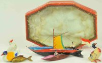 Fleischmann Tin-Toys Magnetic duck and boat set complete...