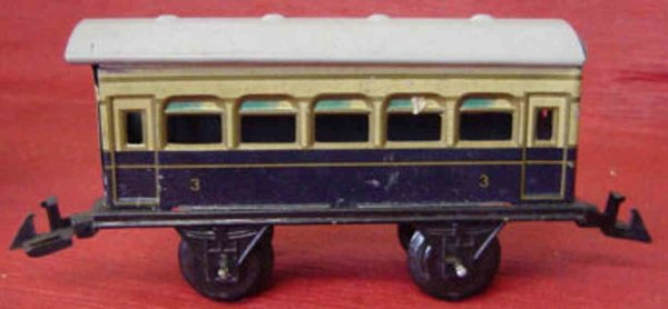 Bing Railway-Passenger Cars Passenger car #10/5129 with four wheels, dark blue and cream