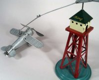 Bing Tin-Toys Flying Airplane and Tower with wind up, the...