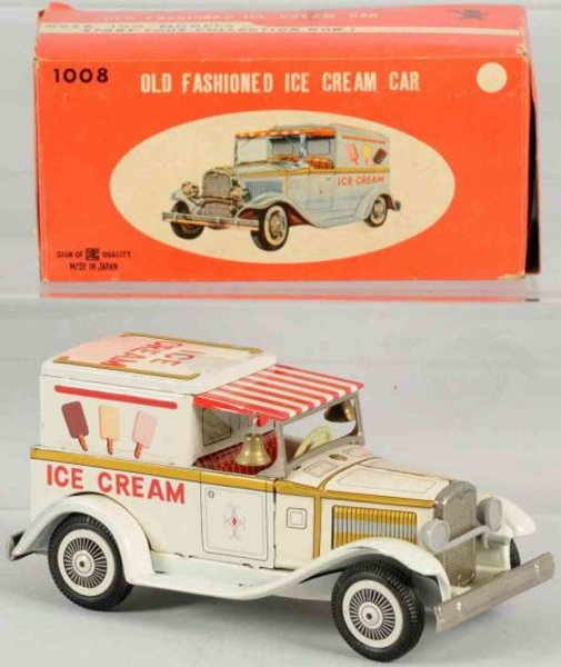 Bandai Tin-Trucks Tin lithographed ice cream truck friction toy, includes orig