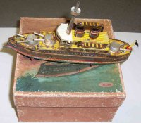 PAYA Tin-Ships Ship as as floor runner with key wind,...