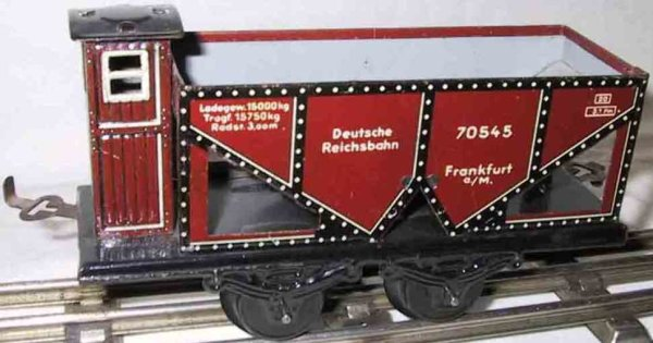 Bub Railway-Freight Wagons Coal hopper with four wheels, reddish brown/black lithograph