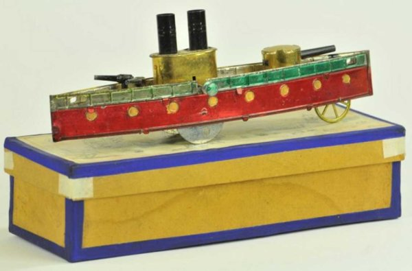 Rossignol Tin-Ships Gun boat spirit painted in red hull, gold deck and appointme