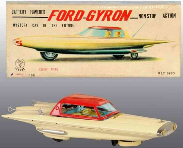Ichida Tin-Cars Ford Gyron car of tin, battery-operated, mystery car of the
