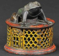 Stevens Co J. & E. Cast-Iron-Mechanical Banks Frog on...