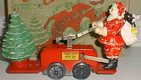 Lionel Tin-Other-Vehicles Santa Claus clockwork handcar, version with Mickey Mouse in