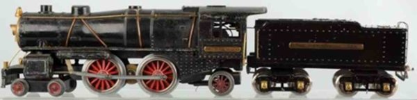 Ives Railway-Locomotives Lockomotive and tender in black made of cast iron, black tru