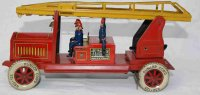 Distler Tin-Penny Toy Fire service car in red and yellow,...