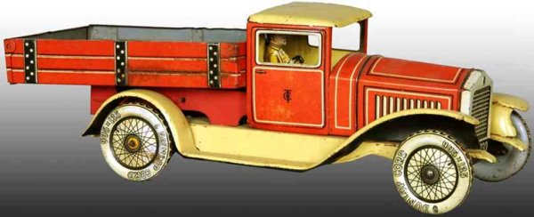 Tippco Tin-Trucks Wind-Up Dump Truck, made of tin lithographed in red, beige a