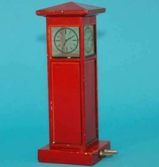 Meccano (Erector) Tin-Toys Grandfather clock in red, electrically illuminated