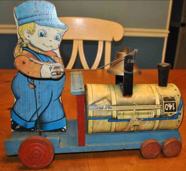 Gong Bell Wood-Toys Train conductor with bell, variant 1