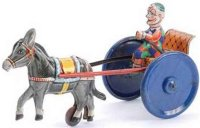 GAMA Tin-Carriages Clown on cart with spring work, sheet...