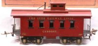 Ives Railway-Freight Wagons Caboose #195 (1927) with four...