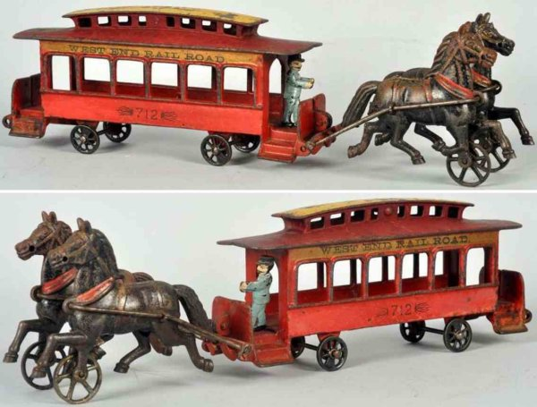 Pratt & Letchworth Cast-Iron-Trams Cast iron horse-drawn trolley, includes two articulated hors