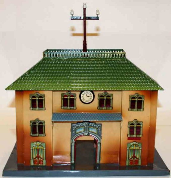 Kraus-Fandor Railway-Stations Railway station #2047/1 made of tin, lithographed in brown,