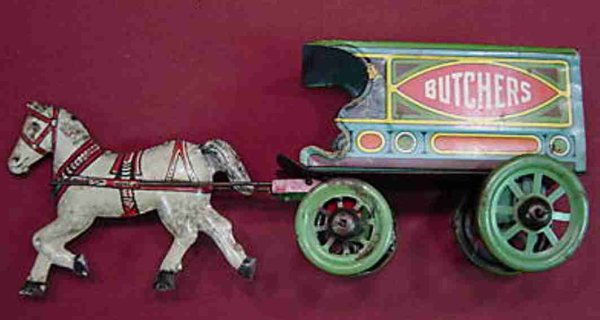 Chein Co. Tin-Carriages Butchers wagon in three variation, butchers, dispatch or gro