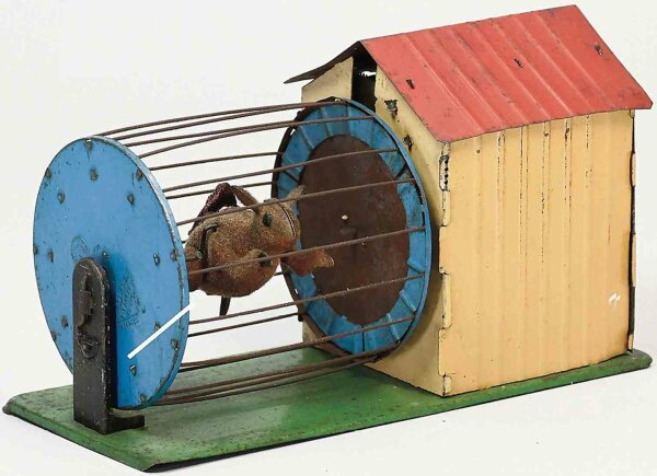 Martin Fernand Tin-Toys Le Petit Ecureuil Vivant #211, squirrel running in cage trea