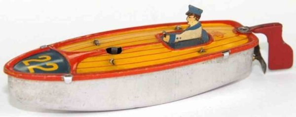 Bonnet Tin-Penny Toy Boat with clockwork, figure and oar, from VEBE, lettering 22