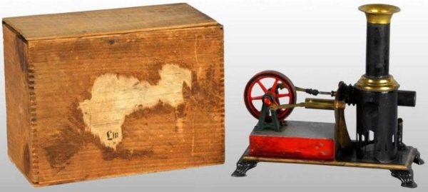 Weeden Steam-Toys-Standing-Hot-Air-Motors Hot air steam engine with wood box. His engine runs on the