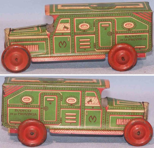 Matarazzo Tin-Penny Toy Tin truck lithographed in green, white and red, from Argenti