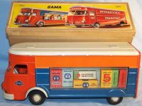 GAMA Tin-Trucks Tin Sales truck in red, blue and gray,...