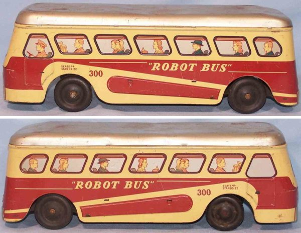 Woodhaven Metal Stamping Co Tin-Buses Tin Robot bus with clockwork in red, beige and gray