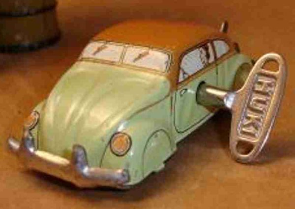 Huki - Kienberger Tin-Penny Toy Penny Toy VW beatle, tin car with pretzel window and spring