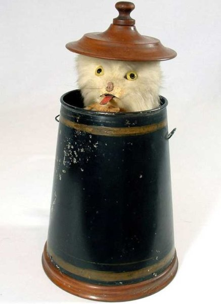 Ives Tin-Automata Mechanical PEEK-A-BOO cat automaton. When the mechanism is w