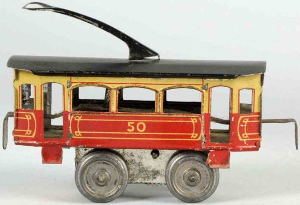 Schoenner Tin-Trams Tin lithographed wind-up trolley, marked No. 50. Marked J