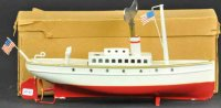 Maerklin Tin-Ships Liner with box, hand painted in red...