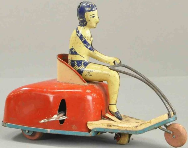 Lindstrom Tin-Motorcycles Woman in scooter, tin, scooter in red with clockwork, with s