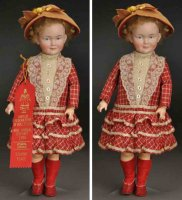 Kley & Hahn Dolls Bisque socket head character doll, head...