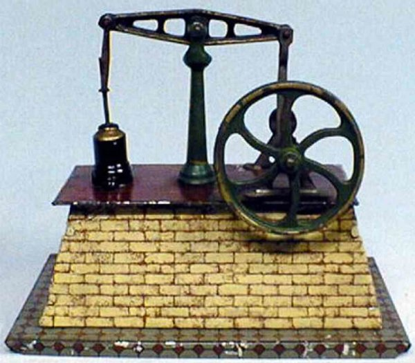 Ives Steam Toys-Horizontal Steam Engines Mechanical steam engine with one wheel