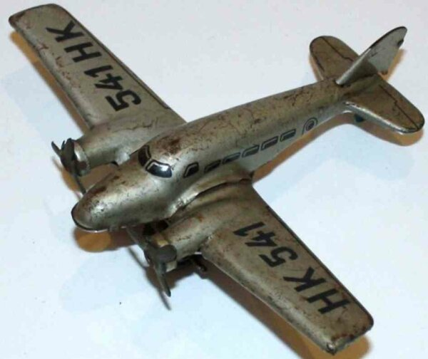 Hammerer & Kühlwein Tine Ariplanes Airplane HK 541 with clockwork, of lithographed sheet metal,