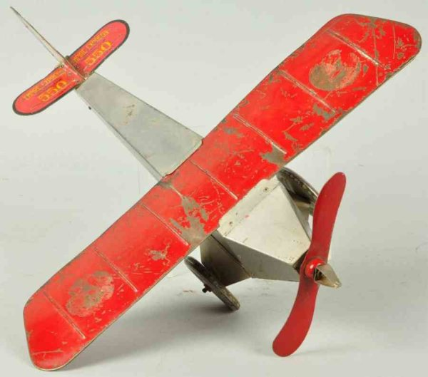 Katz Toy Company Tine Ariplanes Tin empire express monoplane wind-up toy, manufactured by Ka