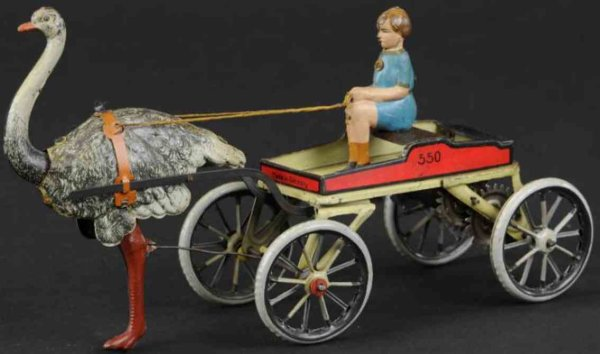 Greppert & Kelch Tin-Figures Ostrich cart, open tin lithographed cart drawn by ostrich, f