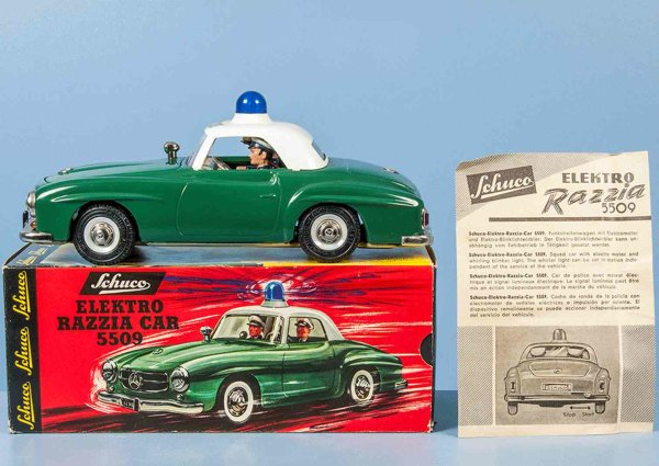 Schuco Tin-Cars Electric-Razzia-Car of sheet metal with electric drive, in g