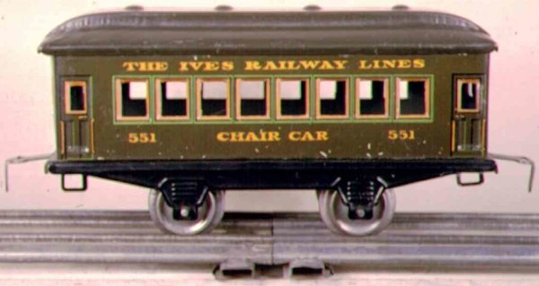 Ives Railway-Passenger Cars Passenger car; 2-axis, steel style lithographed without rive