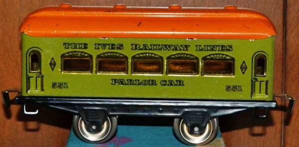 Ives Railway-Passenger Cars Passenger car; 2-axis, green lithographed without rivets, or