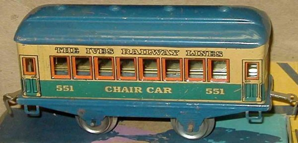 Ives Railway-Passenger Cars Passenger car; 2-axis, lithographed without rivets,  with 4