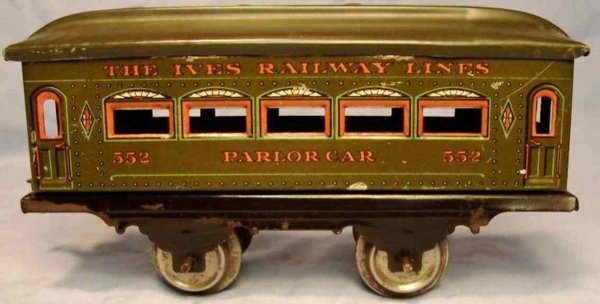 Ives Railway-Passenger Cars Passenger car; 2-axis, steel style lithographed with rivets,