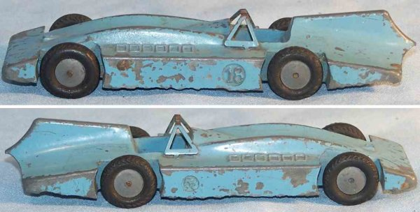 Maerklin Tin-Race-Cars Race car Bluebird made of zinc die cast in light gray, no. 1