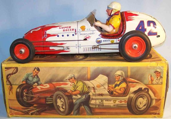 GEM M. Ernest Georges Merli Tin-Race-Cars Super Racer 42, racing car lithographed in, red and yellow