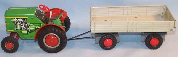 Tippco Tin-Tugs/Rollers Tractor with supporter, lithographed in green, red, gray and