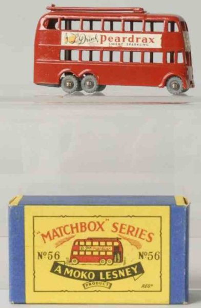 Matchbox Cast-Iron Matchbox Diecast Matchbox London Trolleybus toy, decals are marked D