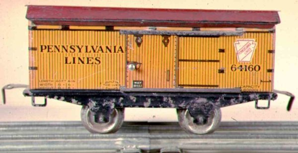 Ives Railway-Freight Wagons Box car No. 564 with four wheels, with red roof and operatin