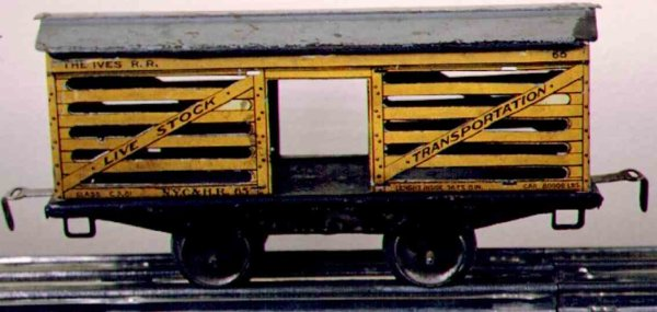 Ives Railway-Freight Wagons Stock car; 2-axis; lithographed in yellow with gray roof