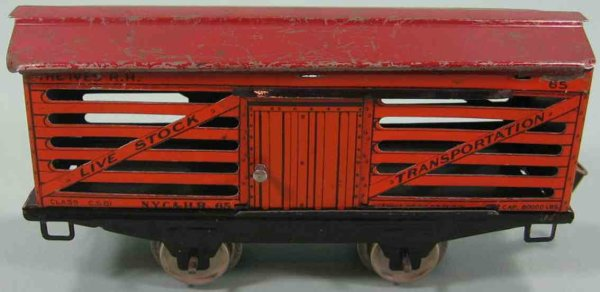 Ives Railway-Freight Wagons Stock car; 2-axis; red roof
