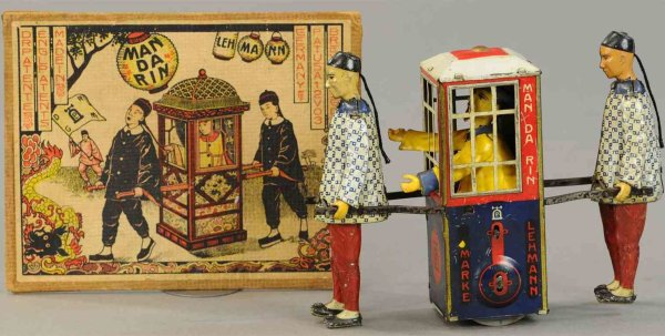Lehmann Tin-Figures Mandarin #565, sedan chair, tinplate clockwork, two coolies,