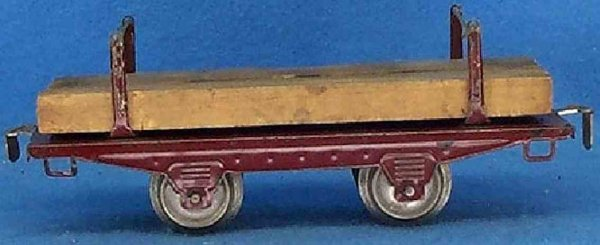 Ives Railway-Freight Wagons Lumber car; 2-axis, maroon, couplers are riveted on, two set